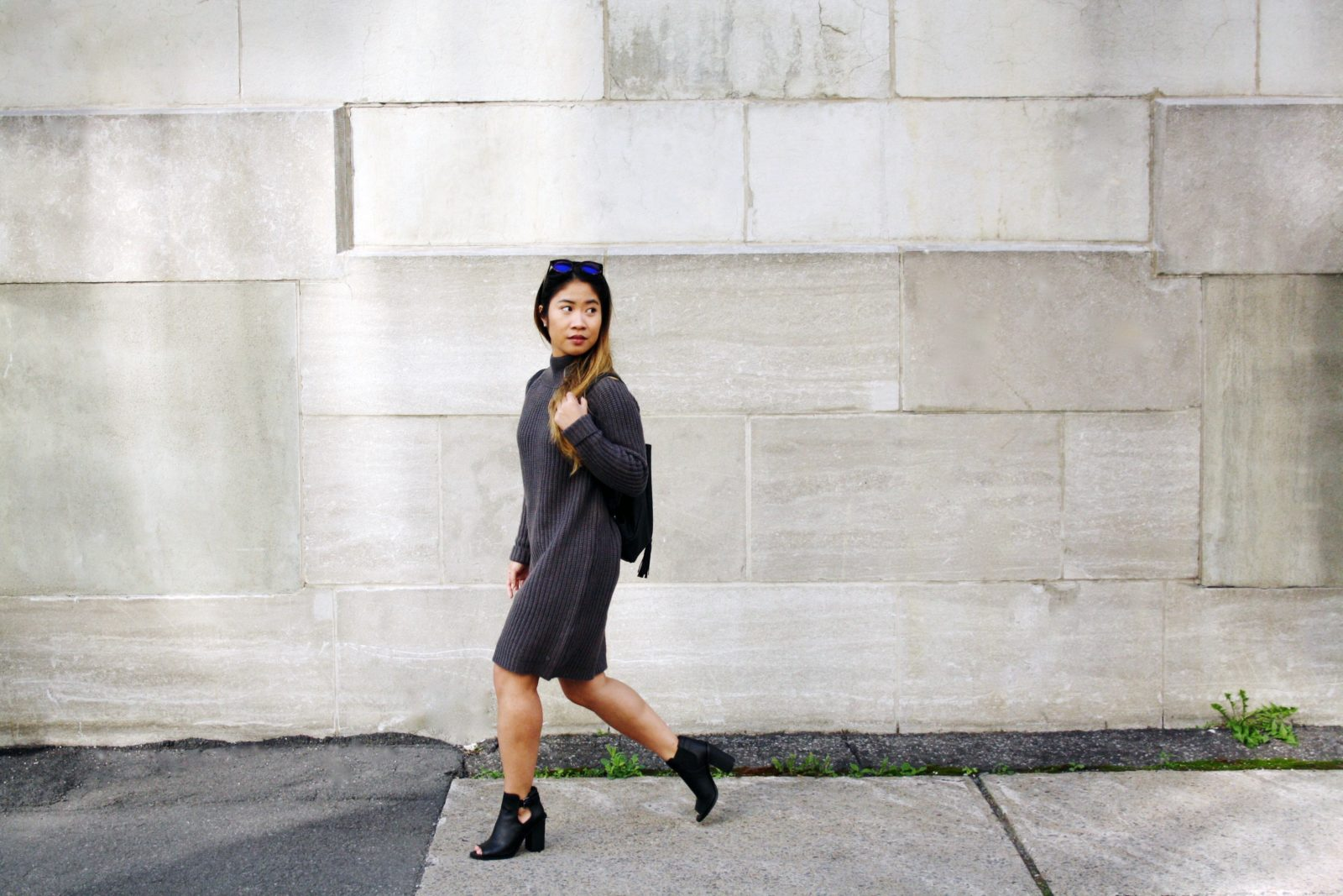 Sweater Dress with Bench